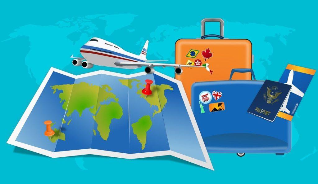 מפה מזוודות ומטוס